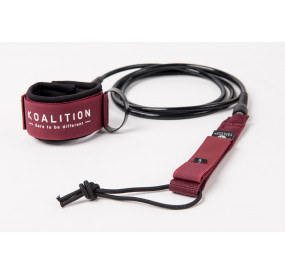 LEASH KOALITION BIG WAVE 9' X 9MM - DARK RED BLACK